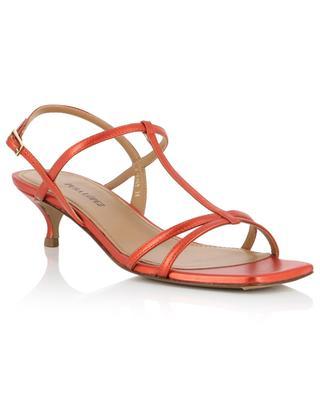 Sandales à petit talon en cuir métallisé à bout carré PURA LOPEZ