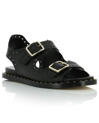 Flat perforated leather sandals BONGENIE GRIEDER