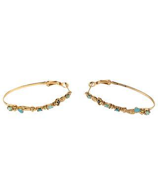 Vergoldete Ohrringe mit Opalin und Türkis Sacha Ovale LA2L