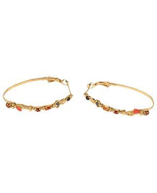 Vergoldete Ohrringe mit Karneol, Granat und Mookait Sacha Ovale LA2L