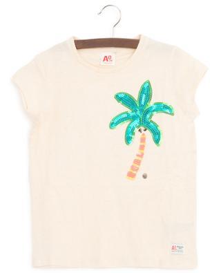Sequined palm tree T-shirt AO76