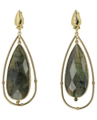 Serti Cage gold labradorite earrings GAS BIJOUX