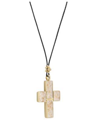 Goldene Halskette mit Emaille Croix GAS BIJOUX