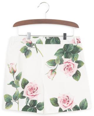Geblümte Popeline-Shorts Tropical Rose DOLCE & GABBANA