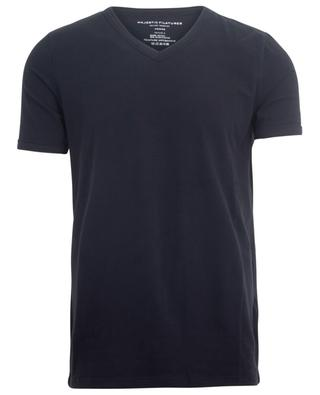 T-shirt à col V et manches courtes en jersey stretch MAJESTIC FILATURES