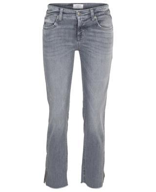 Graue Used-Look-Slim-Fit-Jeans mit Kristallen Tess CAMBIO