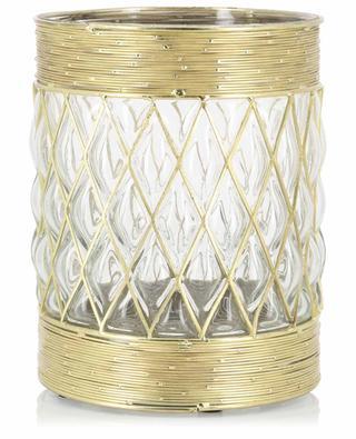Grosses Windlicht aus Glas mit goldenen Details KERSTEN