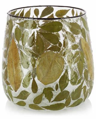 Grand photophore en verre orné de feuilles KERSTEN