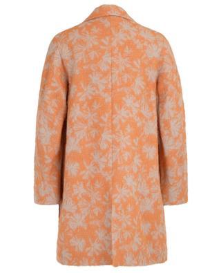 Short lightweight leaf print alpaca and silk coat CINZIA ROCCA