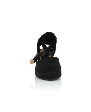 Carina 7 cm black lace-up wedge espadrilles CASTANER