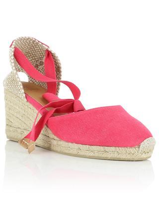 Carina 7 cm pink lace-up wedge espadrilles CASTANER