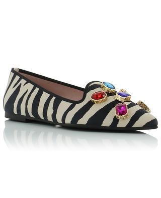 Ella crystal adorned zebra print suede ballet flats PRETTY BALLERINAS