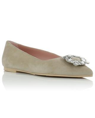 Ella crystal adorned suede ballet flats PRETTY BALLERINAS