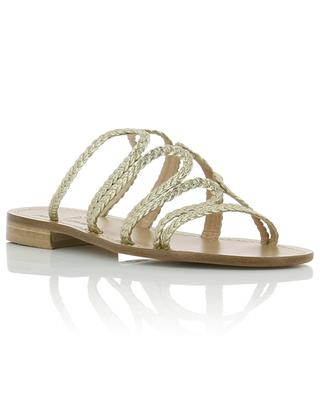 Slides in braided golden leather PAOLO FERRARA
