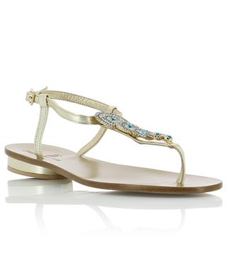 Crystal embellished golden leather sandals PAOLO FERRARA