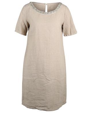 Robe courte en lin brodée de cristaux et de perles 120% LINO