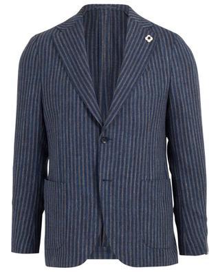 Blazer rayé en laine, coton et lin LARDINI