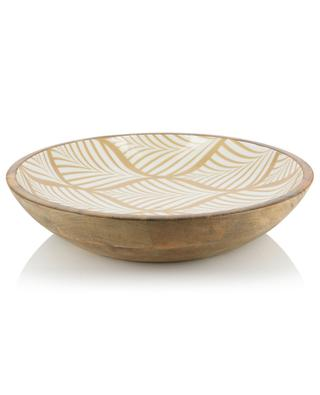 Yellow Retro large leaf design wooden bowl BY ROOM