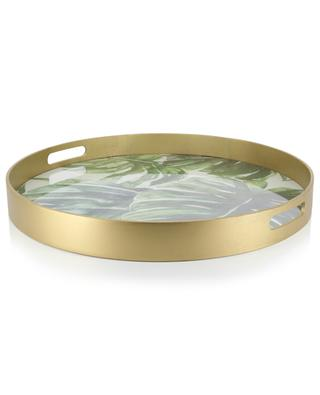 Monstera large round tray with leaf design BY ROOM