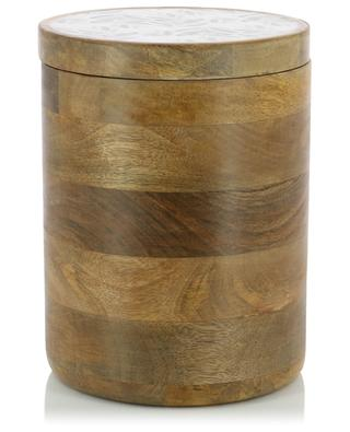 Mangoholz-Schachtelset mit Olivenprint BY ROOM