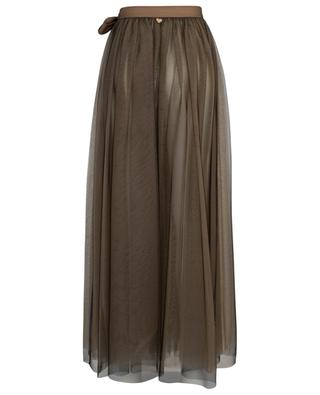 Long bicolour tulle wrap skirt with bow detail TWINSET