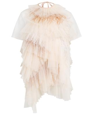 White top and tulle and feather A-line top set TWINSET