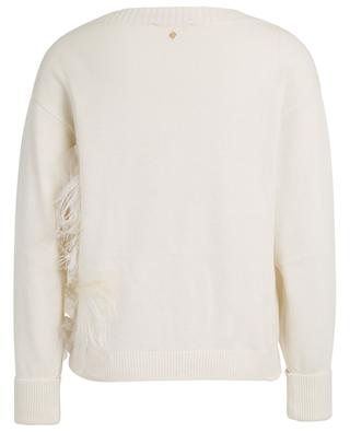 Tulle and feather adorned boat neck jumper TWINSET