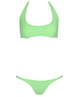 Amber crepe effect Lycra halter neck bikini LISA MARIE FERNANDEZ