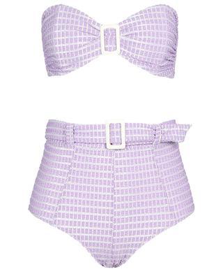 Bikini bandeau taille haute en seersucker métallisé Buckle LISA MARIE FERNANDEZ
