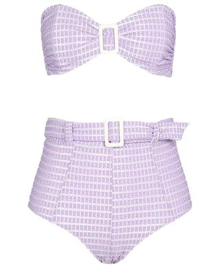 Bandeau-Bikini mit hoher Taille aus Metallic-Seersucker Buckle LISA MARIE FERNANDEZ