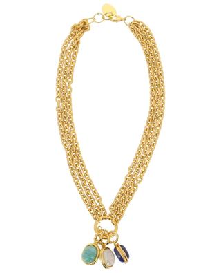 Chain 3 Stones short golden necklace SYLVIA TOLEDANO