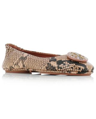 Minnie snake-embossed leather ballet flats TORY BURCH