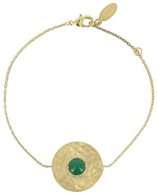 Bracelet plaqué or orné d'agate verte Helene COLLECTION CONSTANCE