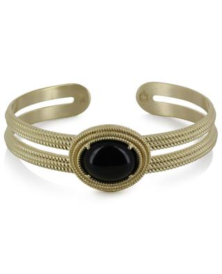 Déméter golden cuff clad with black agate COLLECTION CONSTANCE
