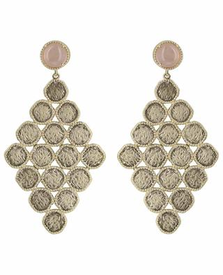 Boucles d'oreilles plaquées or avec quartz rose Maia COLLECTION CONSTANCE