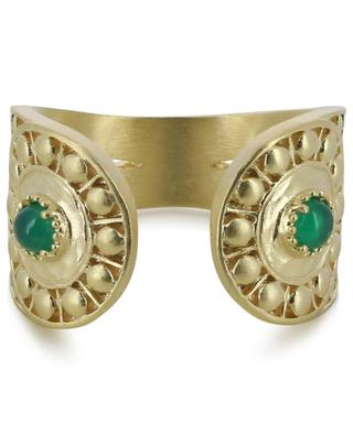 Opale open green agate adorned golden ring COLLECTION CONSTANCE