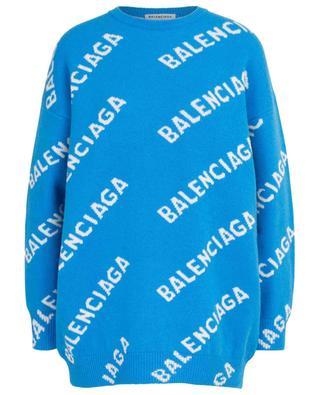 Pull ample en laine mélangée Logo Allover Jacquard BALENCIAGA
