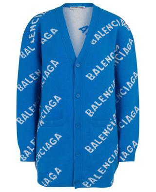 Allover Logo wool blend wide cardigan BALENCIAGA