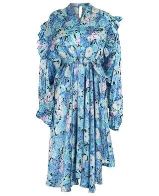 Asymmetrical floral print ruffled silk midi dress BALENCIAGA