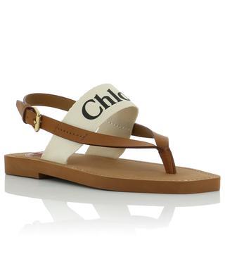 Sandales plates en cuir et toile avec logo Woody CHLOE