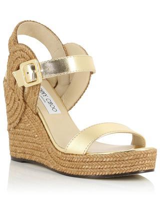 Sandales compensées en cuir métallisé et corde Delphi 100 JIMMY CHOO