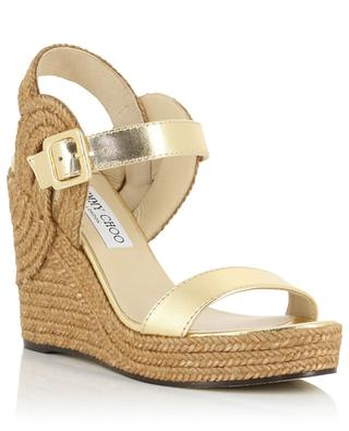 Delphi 100 metallic leather and robe wedge sandals JIMMY CHOO