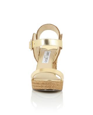 Delphi 100 metallic leather and robe wedge sandals JIMMY CHOO