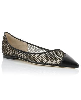 Love Flat pointy tip net and leather ballet flats JIMMY CHOO