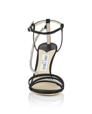 Sandales à talon en tissu scintillant avec cristaux Thaia 100 JIMMY CHOO
