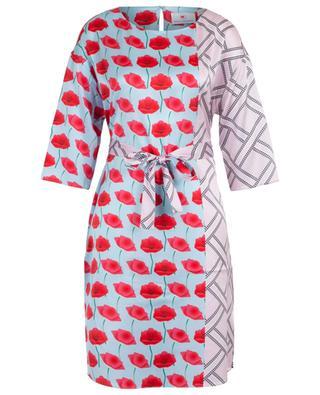 Straight poppy and geo print silk dress HERZEN'S ANGELEHEIT