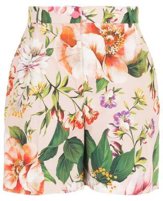 Cotton poplin floral print high-rise shorts DOLCE & GABBANA