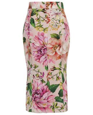 Jupe en charmeuse de soie fleurie Floral Roses DOLCE & GABBANA