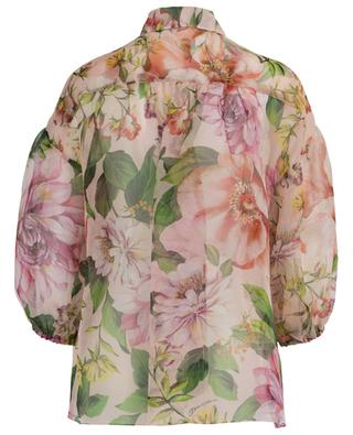 Floral Roses silk gause floral puff sleeve blouse DOLCE & GABBANA