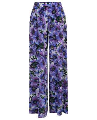 Ausgestellte Hose im Pyjama-Stil aus geblümter Seide Anemone DOLCE & GABBANA